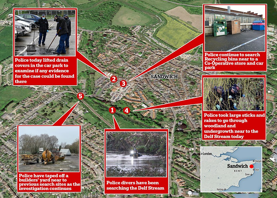 The hunt for evidence in Sandwich, Kent, has entered a third day with a builders' yard now taped off by police