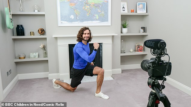 Famous: The 34-year-old exercise guru's daily P.E classes have helped him raise over £500,000 for the NHS through YouTube advert revenue amid the pandemic