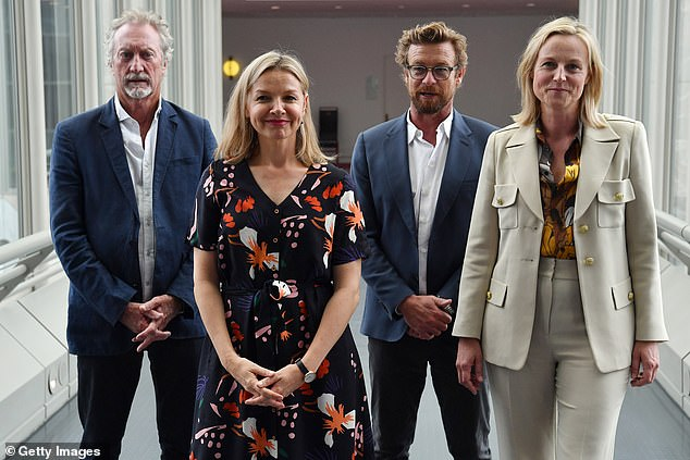Canberra: Bryan (far left) was joined in his lobbying efforts by actors Justine Clarke (second left), Simon Baker (second right) and Marta Dusseldorp (far right)