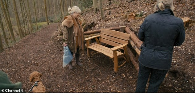 Always remembered:Caroline Flack's mum has revealed the late star's 'beautiful' memorial bench where the family goes to feel at 'peace'