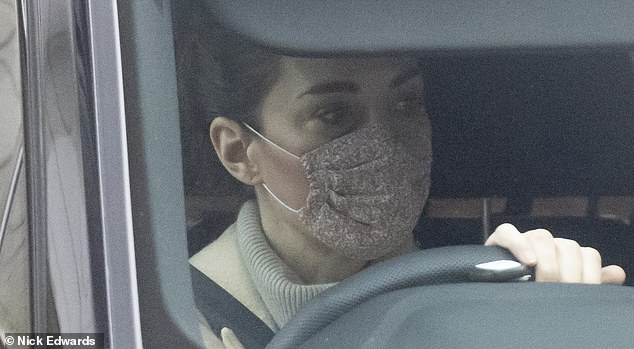 The Duchess of Cambridge was seen driving through central London this morning