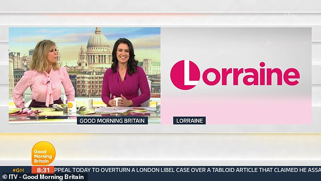 Missing in action: The co-hosts told viewers they would be speaking to Lorraine to preview what was coming up on her chat show at 9am