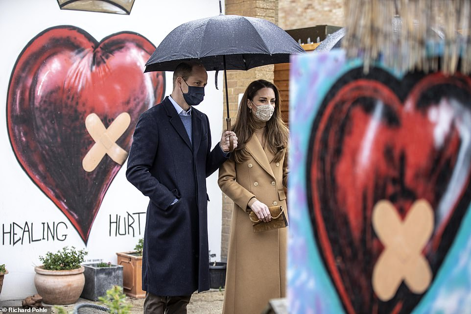 Yesterday, just days after the royals were plunged into a family crisis as a result of the Sussexesu2019 explosive US television interview, the Duke and Duchess of Cambridge were pictured standing in front of a u2018Healing Hurtu2019 heart mural in London - complete with a crown