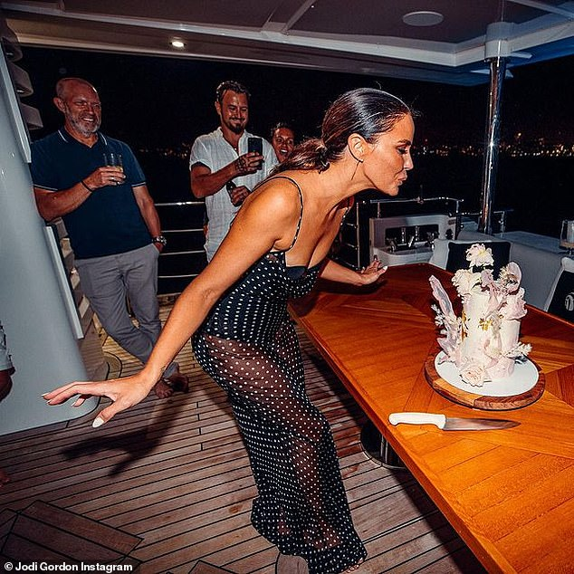 Birthday queen! The mother of one captioned the gallery: 'The most beautiful night out on the harbour with friends and family to celebrate 36! So grateful for every one of you'