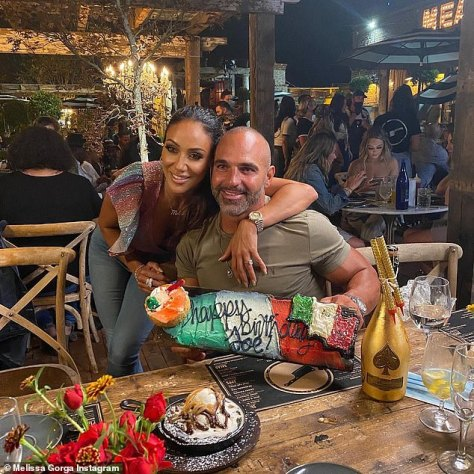 Good times: Melissa shared snaps from Wednesday night\'s episode of RHONJ where the ladies celebrated her husband Joe\'s birthday