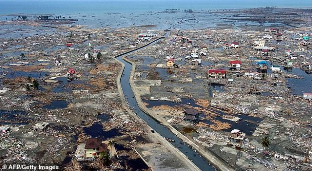 The archipelago nation of Indonesia was the hardest hit country in Southeast Asia when the Indian Ocean earthquake was followed by a tsunami on December 26, 2004. In the photo: The aftermath of the tsunami in the coastal area of Banda Aceh, Indonesia