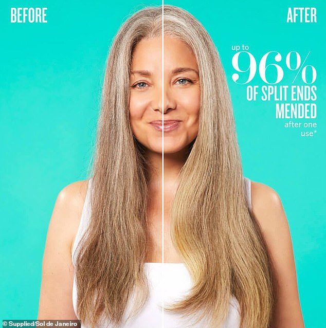 Another popular product for restoring the hair is the $54 weekly Sol de Janeiro Triple Brazilian Butter Hair Repair Treatment (pictured on a model)