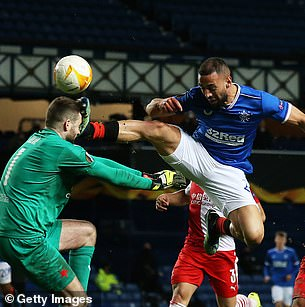 Roofe was sent-off in the 61st minute of Rangers' Europa League defeat to Slavia Prague