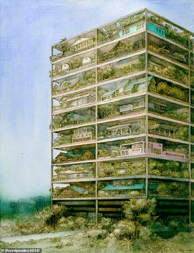 In 1981, one person created a unique vision of what might happen to suburban areas due to lack of space, showing full houses with gardens piled on top of each other like flats