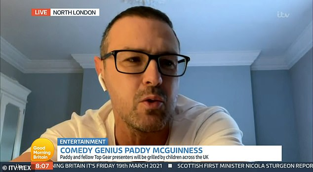 Paddy made light of the incident after spotting his caption read, and said: 'Well done on the 'Comedy Genius: Paddy McGuinness', there's no walking off here with that'
