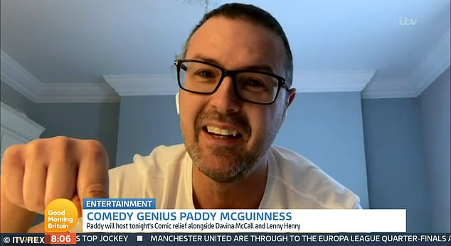 Playful:u00A0Paddy McGuinness poked fun at Patsy Palmer's Good Morning Britain walk off during his appearance on Friday's episode of the programme