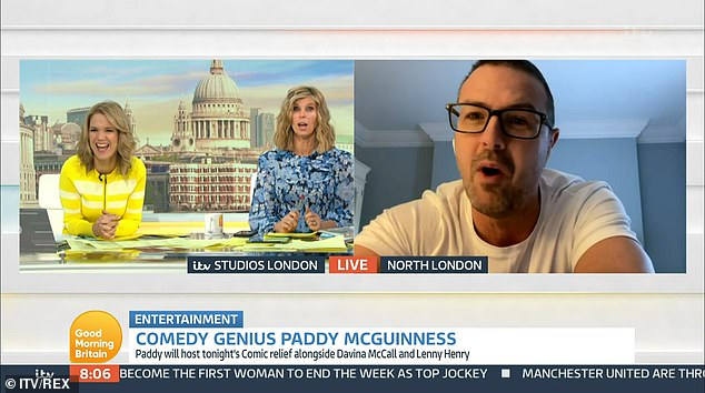 Poking fun:u00A0While appearing on the show days later, Paddy, 47, joked 'there's no walking off here' after his own strap line read: 'Paddy McGuinness: Comedy Genius'