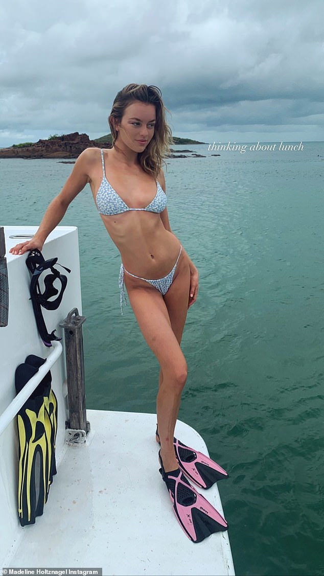 Nice!u00A0Justin Hemmes' girlfriend Madeline Holtznagel (pictured) is enjoying one of the perks of dating a billionaire pub baron. On Friday, the 24-year-old model shared a series of photos and videos from her stay at Haggerstone Island, which lies the coast of far north Queensland