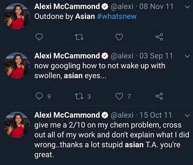 The old tweets resurfaced after Miss McCammond was named the new Teen Vogue editor on March 5.  In a 2011 tweet, when she was 17, she wrote about how she struggled not to wake up with swollen Asian eyes.