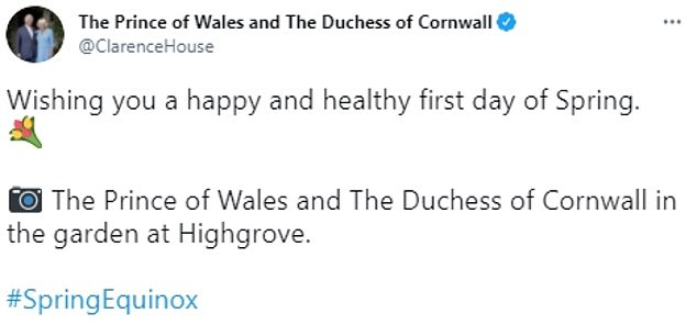 Prince Charles and Camilla, Duchess of Cornwall, shared a sweet image of their garden at Highgrove to celebrate the first day of spring.  The royal couple wrapped themselves in warmth as they posed on the grounds of their Gloucestershire estate, surrounded by an array of growing flowers to mark the first signs of spring.