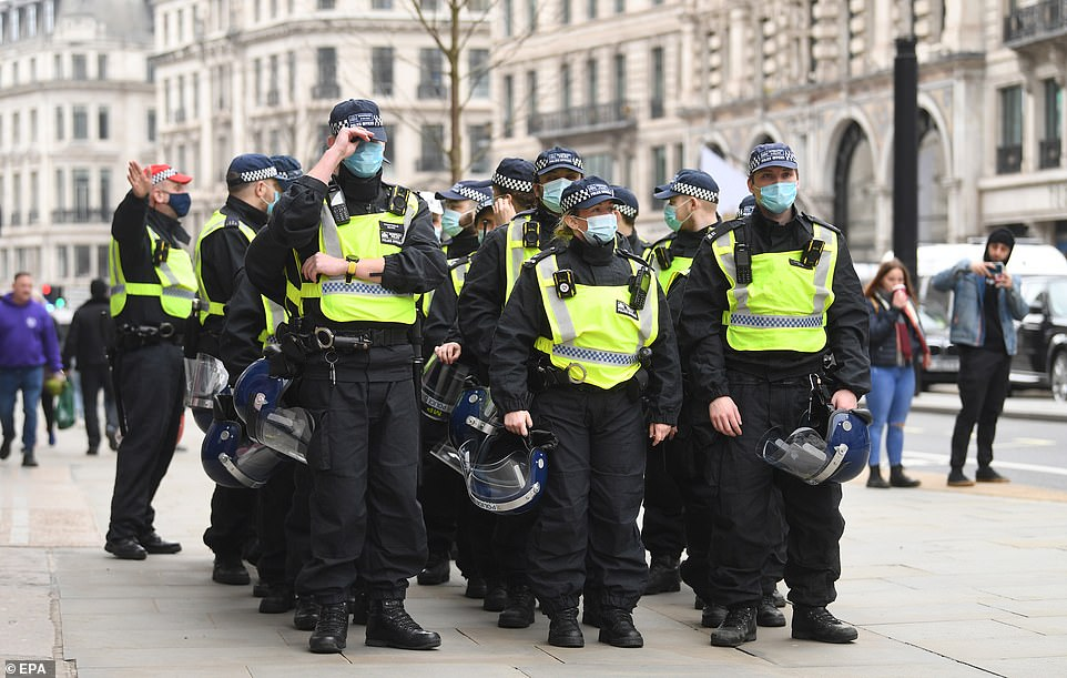Police line up during the anti-lockdown demonstration in London. Protests within the scope of anti-vaccine anti-coronavirus restrictions 'World Wide Rally for Freedom and Democracy' rallies are taking place around the world today