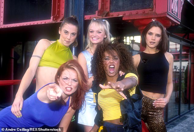 Thoughts: Mel, who rose to fame in the 90s with the Spice Girls (pictured in 1996) detailed her relief at not entering the spotlight today: 'I donu2019t think Iu2019d hack it, I donu2019t think Iu2019d survive'