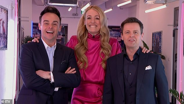Back together:u00A0Viewers reacted angrily to Cat Deeley's lack of social distancing with Ant and Dec on Saturday Night Takeaway