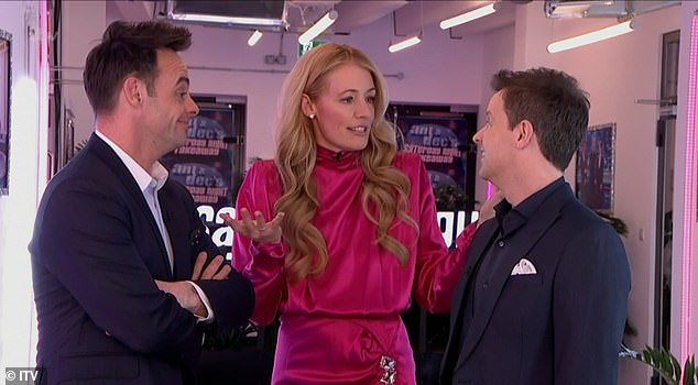 Close:u00A0The segment showed Cat - who donned a silk pink dress - stood in between Ant and Dec as the three of them beamed the camera