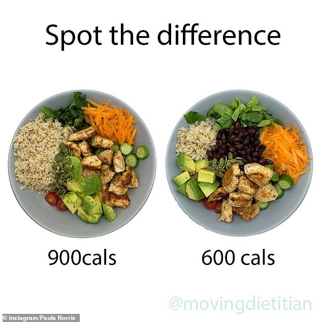Previously, she explained how a simple salad with chicken and rice can be cut from 900 to 600 calories by making some changes (pictured)