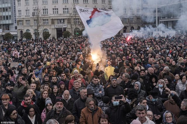 BELGRADE: People take part in a protest against coronavirus restrictions in the Serbian capital of Belgrade
