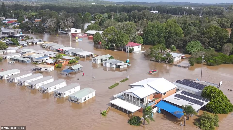 The NSW north coast is also bracing for more heavy rain just days after towns were cut off by floodwaters. This photou00A0shows a flooded area following heavy rains in Port Macquarie