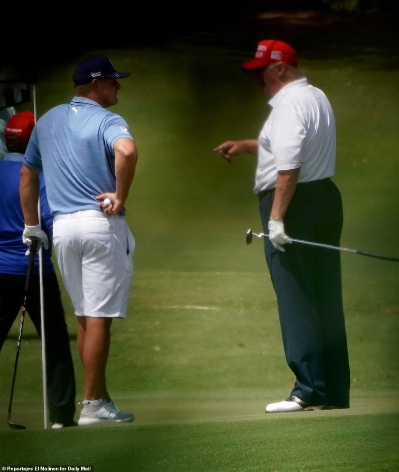 Trump was joined on Sunday by pro golferu00A0Bryson DeChambeau (pictured together)