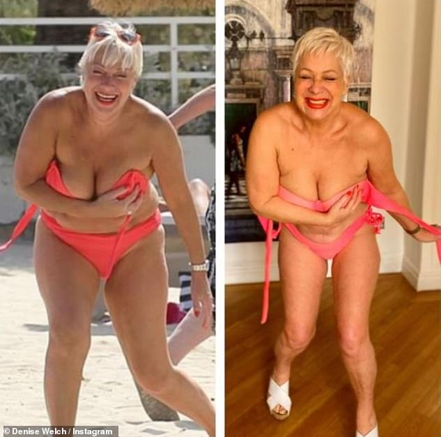 Wow!u00A0Denise Welch looked incredible in a hot pink bikini as she recreated the moment she nearly exposed herself to showcase her recent weight loss in an Instagram post on Saturday