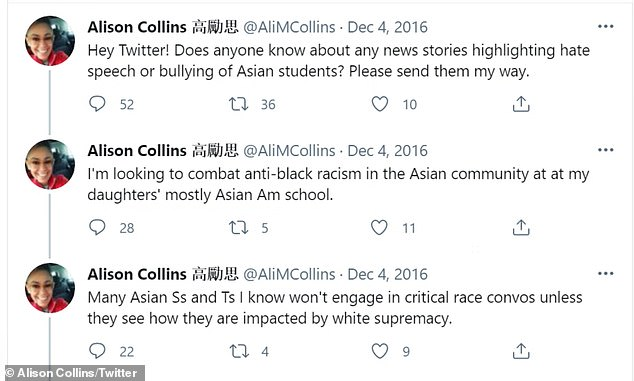 The officials said the tweets 'perpetuate gross and harmful stereotypes and leave no room for nuance or potential misunderstanding'. Their statement addressed Collins' tweets that she shared on December 4, 2016