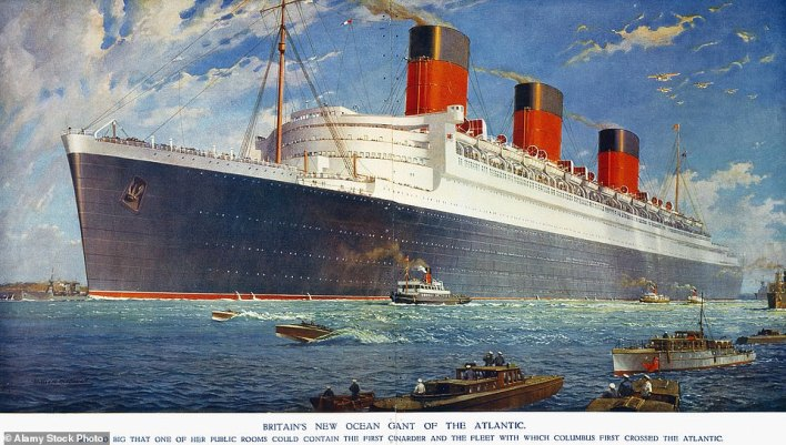 A portrait by William McDowell of the Queen Mary from 1934 - 'Britain's new ocean giant of the Atlantic'