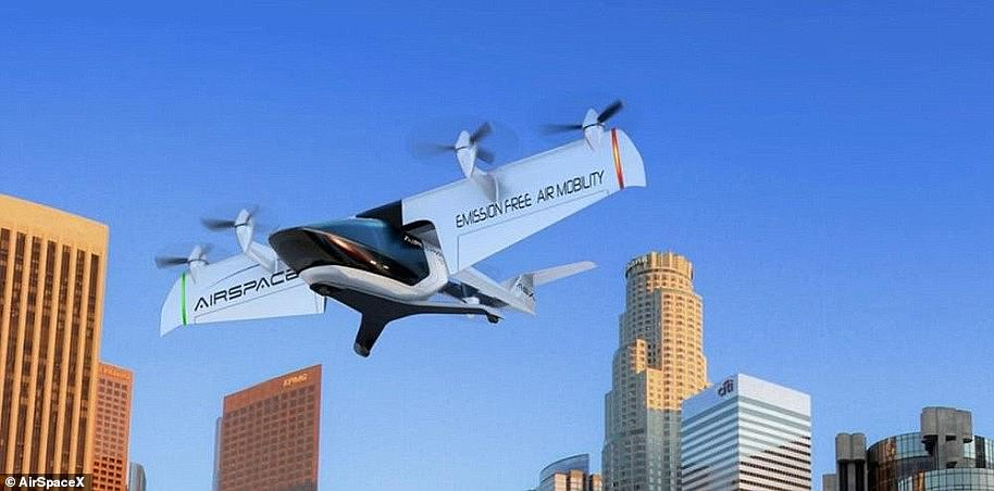 AirSpaceX unveiled its latest prototype, Mobi-One, at the North American International Auto Show in early 2018. Like its closest rivals, the electric aircraft is designed to carry two to four passengers and is capable of vertical take-off and landing