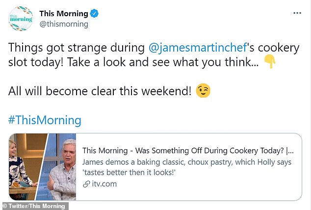 Confirmation: As speculation continued to to mount on Monday, a message from This Morning's official Twitter account appeared to all but confirm suspicions that it was a prank