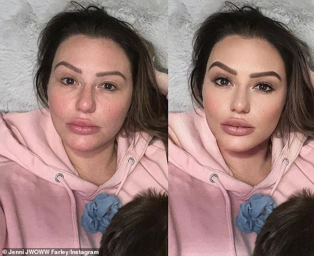 A big change:Jersey Shore star Jenni 'JWoww' Farley showed off what a filter can do to one's appearance with a new post shared this weekend to Instagram