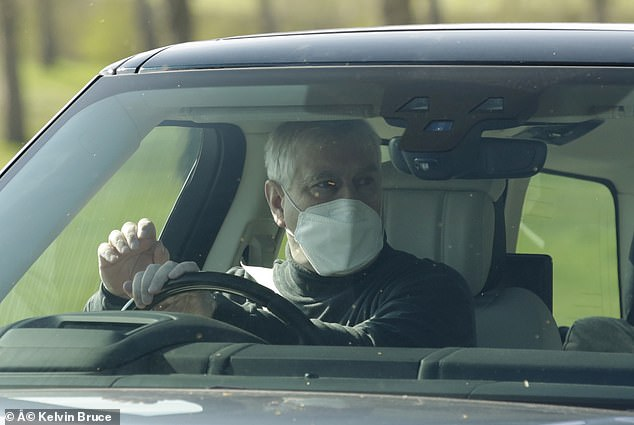 Prince Andrew pictured wearing a face mask as he arrived out for an early morning ride at Windsor today