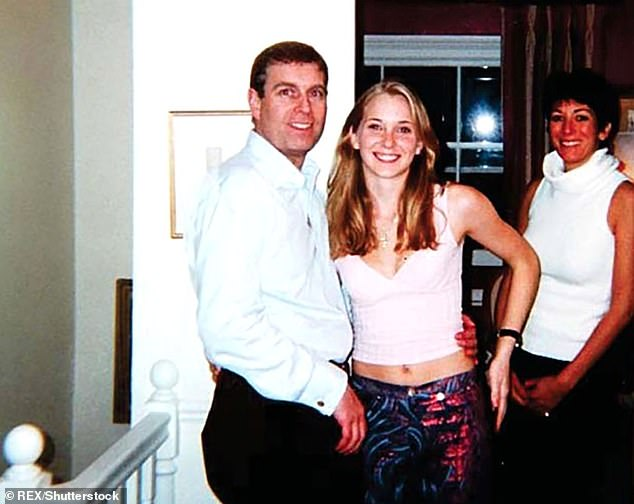 Ghislaine Maxwell, far right, is pictured with Prince Andrew and accuser Virginia Roberts in her London home.  Roberts filed a criminal complaint claiming she had underage sex with Prince Andrew and pedophile Epstein
