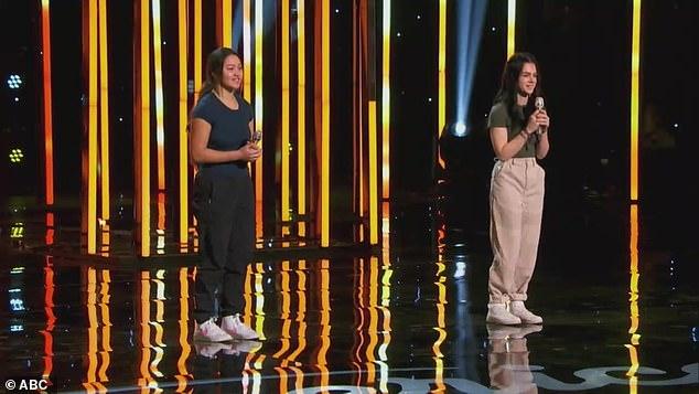 Tense time: Liahona andLaila Mach, 15, listened as Katy critiqued their duet