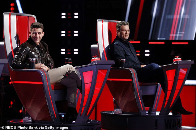 Teaming up:'See, what I heard is that John and Blake approved me being on this show, but the last word was with Kelly,' said Nick Jonas, 28, backing up his pal