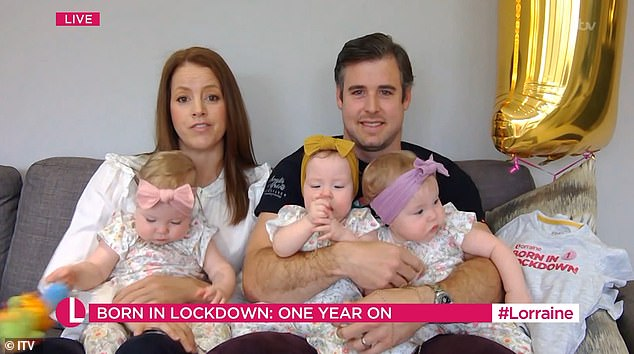 The parents of triplets born in lockdown have revealed their identical trio of girls still haven't met their grandparents as they marked the one year anniversary of lockdown