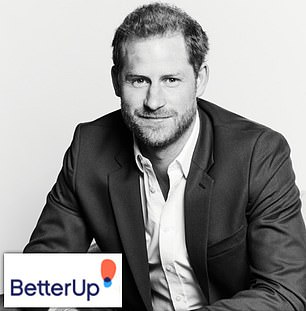 The Duke of Sussex was unveiled on Tuesday morning as the chief impact officer at BetterUp with this corporate black and white photograph of Harry released at the same time