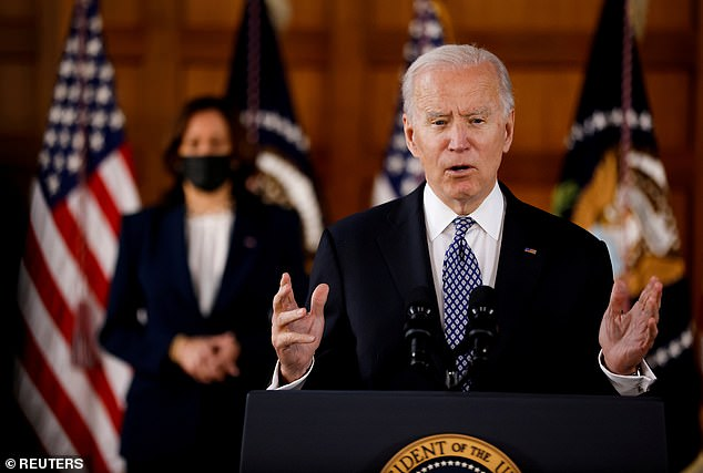 President Joe Biden did not address gun control when he spoke in Atlanta on Friday after a mass shooting there; he is expected to comment on the Boulder, Colorado, shootings at some point on Tuesday