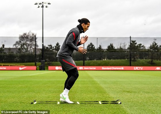 Van Dijk returned to outdoor training earlier in the year and appears to be ahead of schedule.