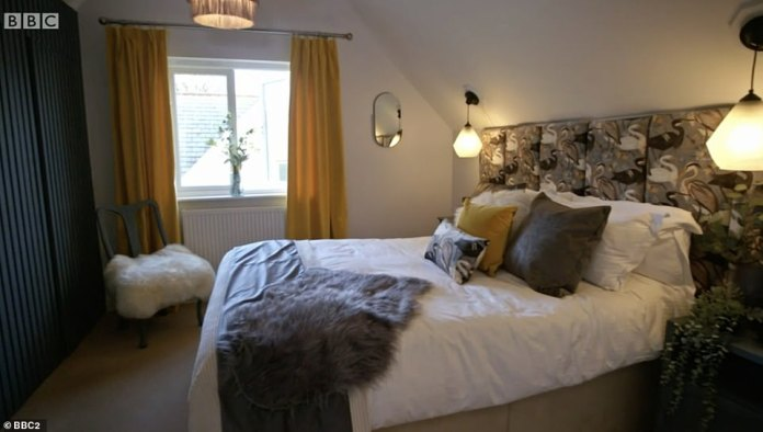 Lynsey admitted that she quit her job to focus on working in interiors before the winner was announced.  Pictured: Lynsey's bedroom design