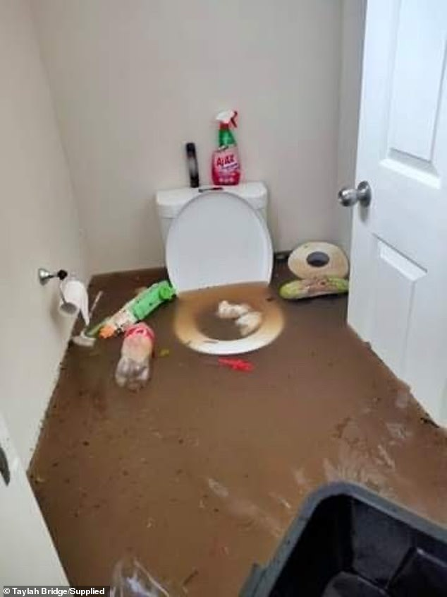 The house, including the toilet, were damaged by the devastating flood