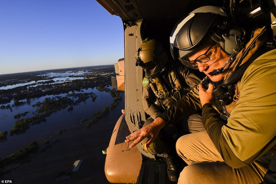 Prime Minister Scott Morrison is pictured during his tour on Wednesday morning of flood-affected parts of NSW