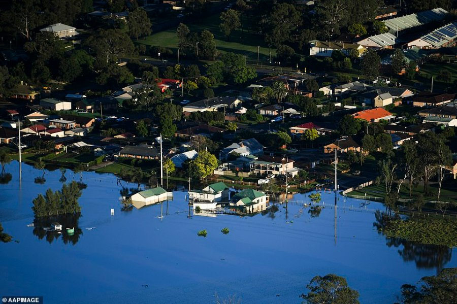 Flood-affected areas are seen from a helicopter in the Windsor area on Wednesday. Residents there have been left completely stranded as the historic town is cut off from neighbouring areas