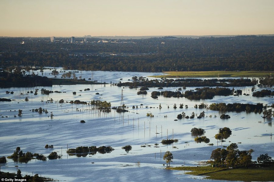Flood affected areas are seen from a helicopter in the Windsor and Pitt Town areas along the Hawkesbury River on Wednesday