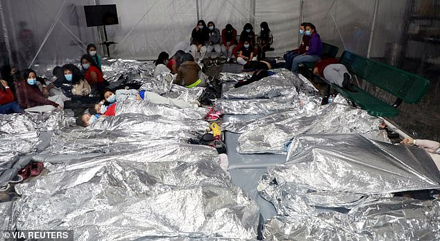One image shows children lying packed in like sardines side by side on mattresses on the floors inside a makeshift facility in Donna