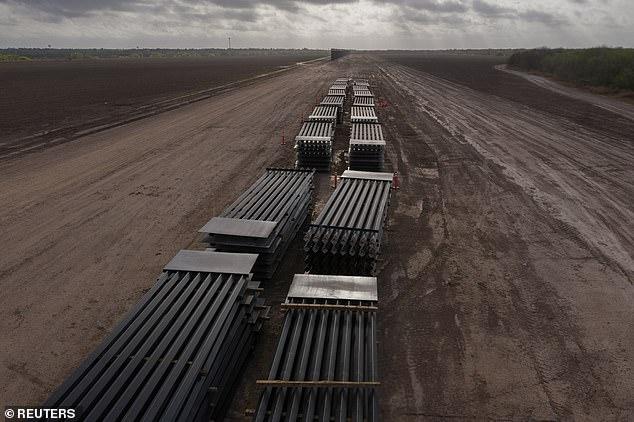 Parts of the border wall lie unused in La Joya, Texas, on March 13