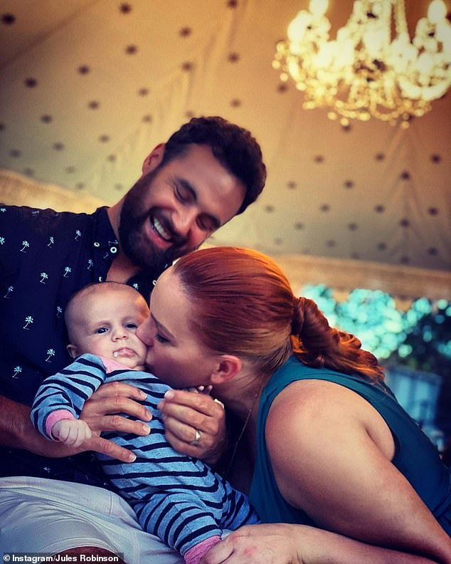 Happy family: Jules found fame on season six of Married At First Sight, alongside her now husband Cameron Merchant. The couple went on to marry a year after meeting on the Channel 9 show. They currently share a five-month old son called Oliver 'Ollie' Merchant