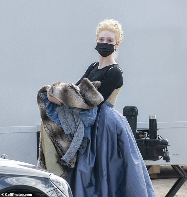 Character: The actress, 22, was seen shooting the second instalment of the historical drama series which is set in 18th century Russia in Richmond Park